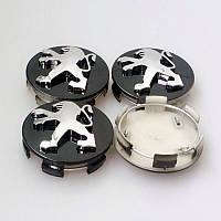 Заглушки колпачки литых дисков Peugeot чёрные