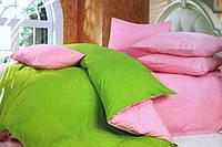 Однотонное постельное белье Евро размера East Comfort салатый с розовым