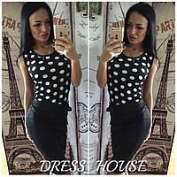 Женское платье верх-горох, юбка черная
