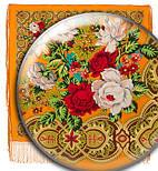 Белые розы 373-0, павлопосадский платок (шаль) из уплотненной шерсти с шелковой вязанной бахромой, фото 6
