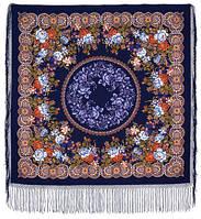 Белые розы 373-14, павлопосадский платок (шаль) из уплотненной шерсти с шелковой вязанной бахромой, фото 1