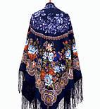 Белые розы 373-14, павлопосадский платок (шаль) из уплотненной шерсти с шелковой вязанной бахромой, фото 4