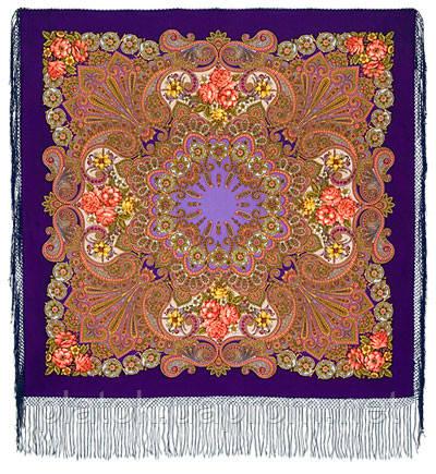 Василиса 1370-14, павлопосадский платок (шаль) из уплотненной шерсти с шелковой вязанной бахромой