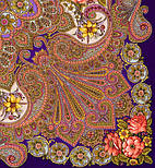 Василина 1370-14, павлопосадский хустку (шаль) з ущільненої вовни з шовковою бахромою в'язаної, фото 2