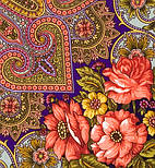 Василина 1370-14, павлопосадский хустку (шаль) з ущільненої вовни з шовковою бахромою в'язаної, фото 4