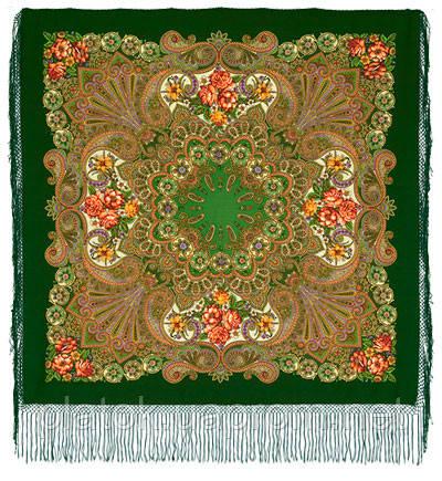 Василиса 1370-30, павлопосадский платок (шаль) из уплотненной шерсти с шелковой вязанной бахромой