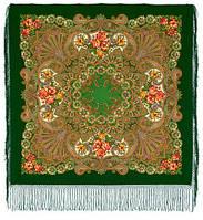 Василиса 1370-30, павлопосадский платок (шаль) из уплотненной шерсти с шелковой вязанной бахромой, фото 1