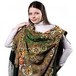 Василиса 1370-30, павлопосадский платок (шаль) из уплотненной шерсти с шелковой вязанной бахромой, фото 2