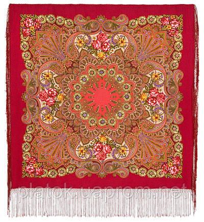 Василиса 1370-5, павлопосадский платок (шаль) из уплотненной шерсти с шелковой вязаной бахромой
