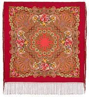 Василиса 1370-5, павлопосадский платок (шаль) из уплотненной шерсти с шелковой вязанной бахромой, фото 1