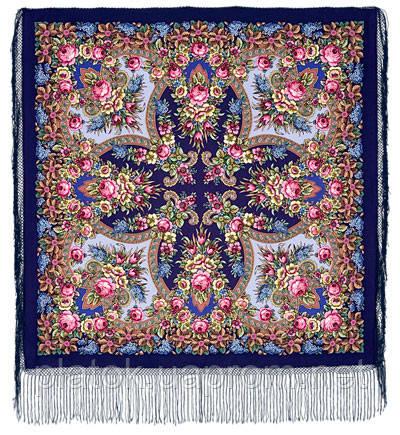 Воспоминания о лете 563-14, павлопосадский платок (шаль) из уплотненной шерсти с шелковой вязанной бахромой