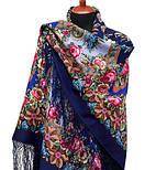 Воспоминания о лете 563-14, павлопосадский платок (шаль) из уплотненной шерсти с шелковой вязанной бахромой, фото 3