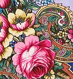 Воспоминания о лете 563-14, павлопосадский платок (шаль) из уплотненной шерсти с шелковой вязанной бахромой, фото 4