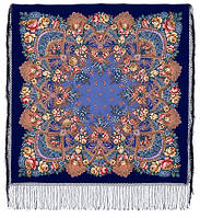 Июньское утро 1028-14, павлопосадский платок (шаль) из уплотненной шерсти с шелковой вязанной бахромой