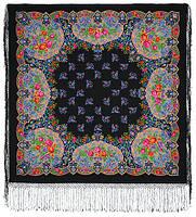 Медальоны 928-18, павлопосадский платок (шаль) из уплотненной шерсти с шелковой вязанной бахромой