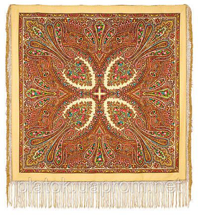 Чарівниця 992-0, павлопосадский хустку (шаль) з ущільненої вовни з шовковою бахромою в'язаної