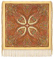 Волшебница 992-0, павлопосадский платок (шаль) из уплотненной шерсти с шелковой вязанной бахромой, фото 1