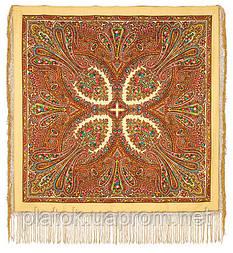 Волшебница 992-0, павлопосадский платок (шаль) из уплотненной шерсти с шелковой вязанной бахромой