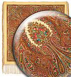 Волшебница 992-0, павлопосадский платок (шаль) из уплотненной шерсти с шелковой вязанной бахромой, фото 3