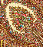 Волшебница 992-0, павлопосадский платок (шаль) из уплотненной шерсти с шелковой вязанной бахромой, фото 4