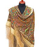 Волшебница 992-0, павлопосадский платок (шаль) из уплотненной шерсти с шелковой вязанной бахромой, фото 5