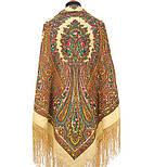 Волшебница 992-0, павлопосадский платок (шаль) из уплотненной шерсти с шелковой вязанной бахромой, фото 6