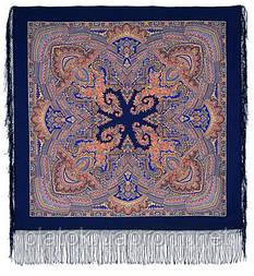 Волшебный узор 1290-14, павлопосадский платок (шаль) из уплотненной шерсти с шелковой вязанной бахромой
