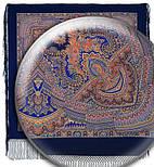 Волшебный узор 1290-14, павлопосадский платок (шаль) из уплотненной шерсти с шелковой вязанной бахромой, фото 2