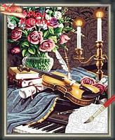 "Раскраска по номерам на холсте (роспись по номерам) ""Скрипка на рояле"", MG238, 40х50 см., фото 1"