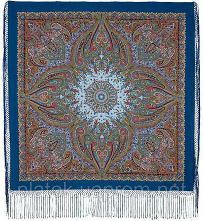 Губернаторский  1504-13, павлопосадский платок (шаль) из уплотненной шерсти с шелковой вязанной бахромой