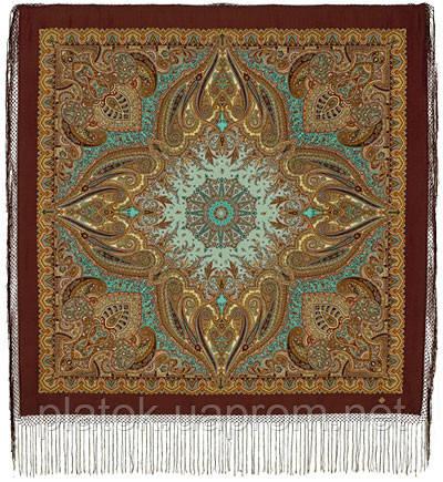 Губернаторский  1504-17, павлопосадский платок (шаль) из уплотненной шерсти с шелковой вязаной бахромой