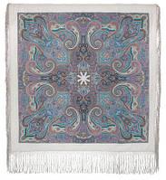 Драгоценная 1292-2, павлопосадский платок (шаль) из уплотненной шерсти с шелковой вязанной бахромой, фото 1