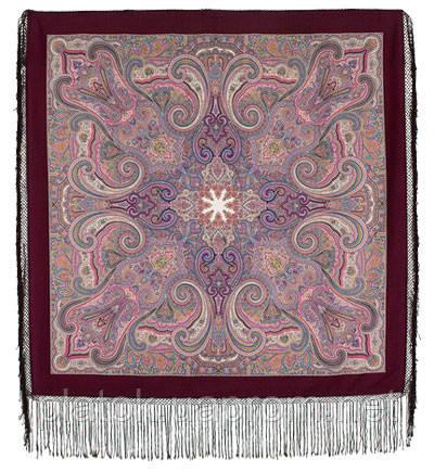 Драгоценная 1292-7, павлопосадский платок (шаль) из уплотненной шерсти с шелковой вязанной бахромой