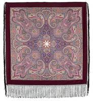 Драгоценная 1292-7, павлопосадский платок (шаль) из уплотненной шерсти с шелковой вязанной бахромой, фото 1