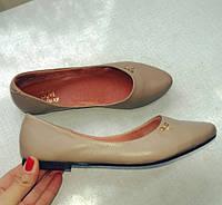 Женские кожаные балетки капучино. Украина