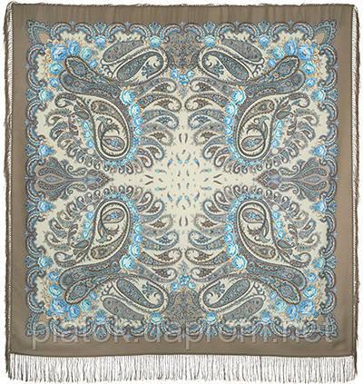В вихре танца 1567-16, павлопосадский платок шерстяной  с шелковой бахромой