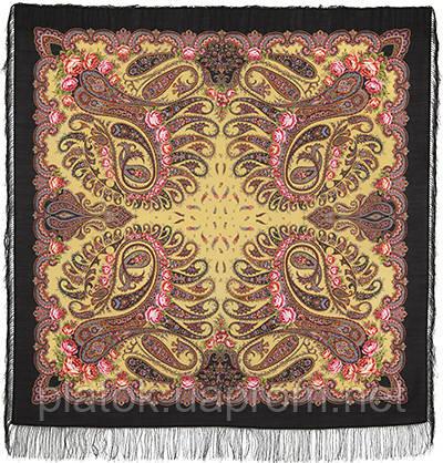 В вихре танца 1567-18, павлопосадский платок шерстяной  с шелковой бахромой
