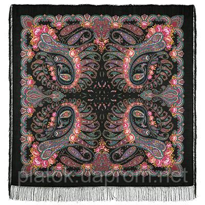 В вихре танца 1567-19, павлопосадский платок шерстяной  с шелковой бахромой