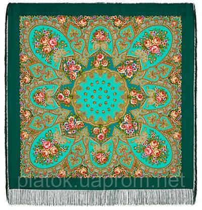 Венский вальс 1121-12, павлопосадский платок шерстяной  с шелковой бахромой