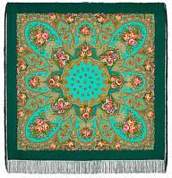 Венский вальс 1121-12, павлопосадский платок шерстяной  с шелковой бахромой, фото 1