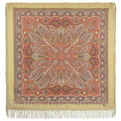Имбирь 1496-2, павлопосадский платок шерстяной  с шелковой бахромой