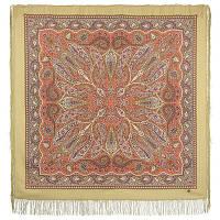 Имбирь 1496-2, павлопосадский платок шерстяной  с шелковой бахромой   Первый сорт    СКИДКА!!!