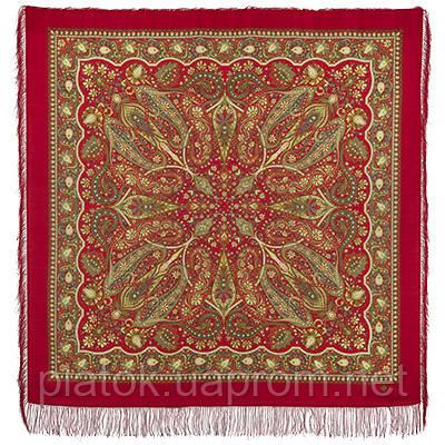 Имбирь 1496-5, павлопосадский платок шерстяной  с шелковой бахромой