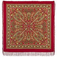Имбирь 1496-5, павлопосадский платок шерстяной  с шелковой бахромой, фото 1