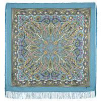 Имбирь 1496-13, павлопосадский платок шерстяной  с шелковой бахромой