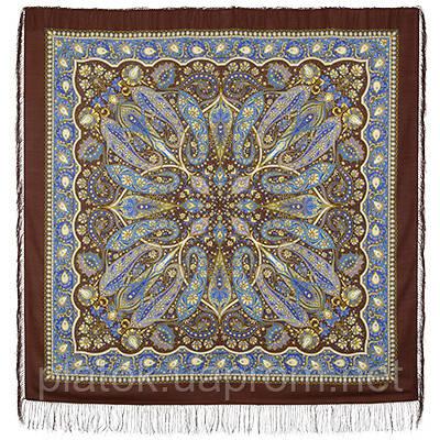 Имбирь 1496-17, павлопосадский платок шерстяной  с шелковой бахромой