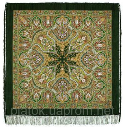 Испанский 710-10, павлопосадский платок шерстяной  с шелковой бахромой