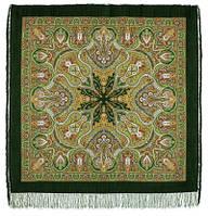 Испанский 710-10, павлопосадский платок шерстяной  с шелковой бахромой, фото 1