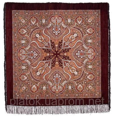 Испанский 710-17, павлопосадский платок шерстяной  с шелковой бахромой