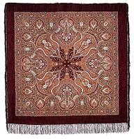 Испанский 710-17, павлопосадский платок шерстяной  с шелковой бахромой, фото 1